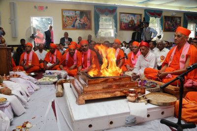 The ceremonial flames now burn strongest at the end of the yagna ceremony