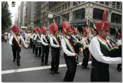 Swamibapa Pipe Band marches throughout the streets of New York City