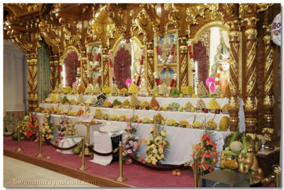 The sants arranged a grand ankoot to offer to Lord Swaminarayanbapa Swamibapa