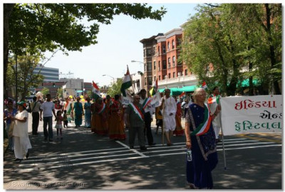The India Day Parade's Festival Committee walks in the parade