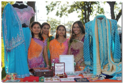 Disciples at the traditional Indian clothing stall