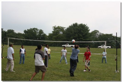 Disciples play volleyball