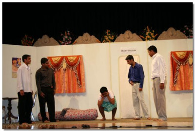 Disciples perform a scene in the religious drama