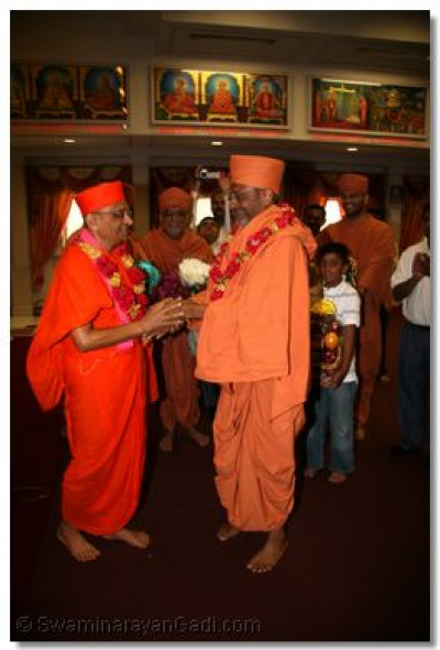 Acharya Swamishree and Swami Hariprasadji present each other with flower garlands