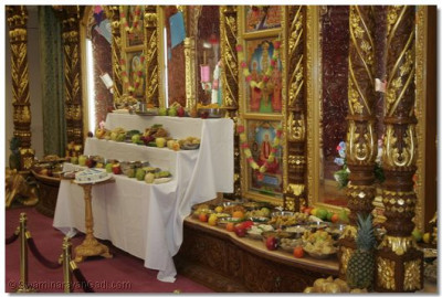 A variety of foods was offered to the Lord during the celebration