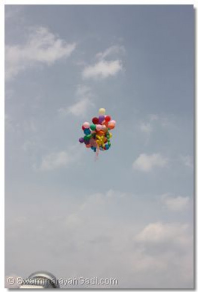 The balloons fly away
