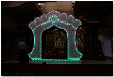 Hindola made of intricate Styrofoam designs and color-changing lights