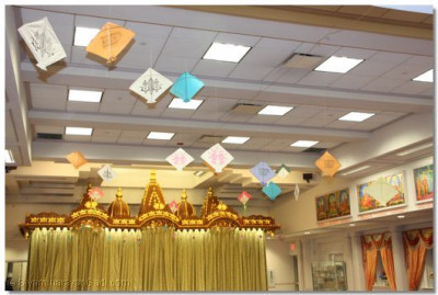 The temple was decorated with kites to celebrate Utraayan