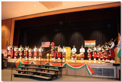 "Swamibapa Pipe Band also played the Indian national anthem, ""Jana Gana Mana,"" during the event"