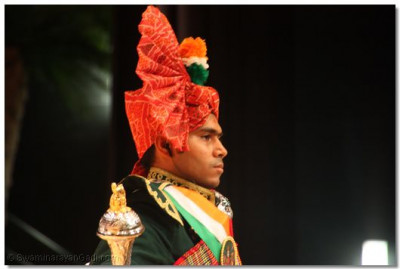 The drum major of Swamibapa Pipe Band