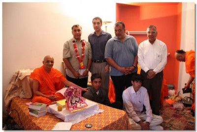 Acharya Swamishree gives His darshan to disciples