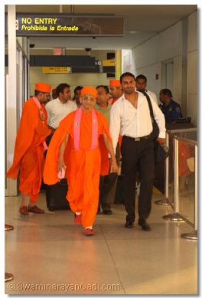 His Divine Holiness Acharya Swamishree arrives at Newark Liberty Airport, New Jersey, USA