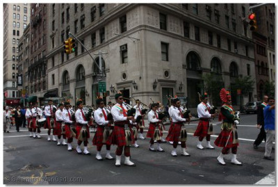 Swamibapa Pipe Band marches past the streets of New York City