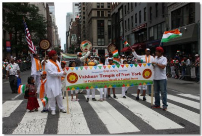 Members from the Vaishnav Temple of New York proudly march in the parade as well