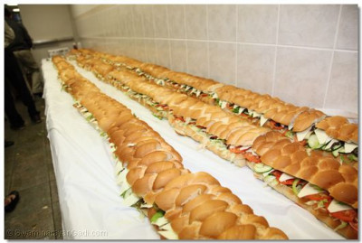 Long sandwiches were prepared by disciples for the Shibir participants