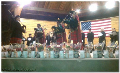 Members of Swamibapa Pipe Band and bagpipes instructor Barry C. Freeman perform at the Secaucus memorial service for the Sandy Hook Elementary School shooting victims