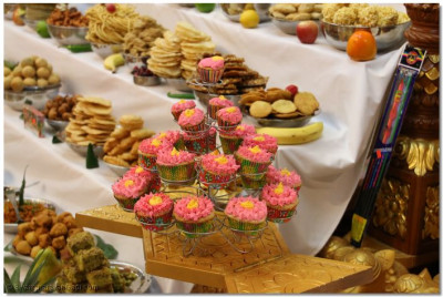 Cupcakes are among the sweets offered to Lord Swaminarayanbapa Swamibapa