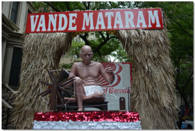 One of the floats to honor Mahatma Gandhiji