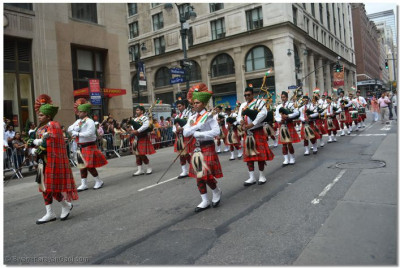 Swamibapa Pipe Band leads the parade down Madison Avenue, New York City