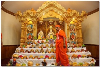 Divine darshan of Acharya Swamishree with the annkot offerings for Lord Swaminarayanbapa Swamibapa