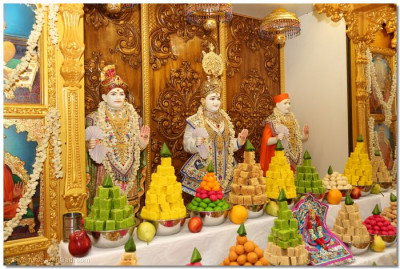 Divine darshan of Lord Swaminarayanbapa Swamibapa with the annkot offerings