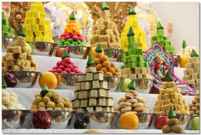 Piles and piles of delicious sweets were offered to the Lord