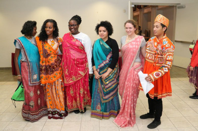 Student try on traditional attire
