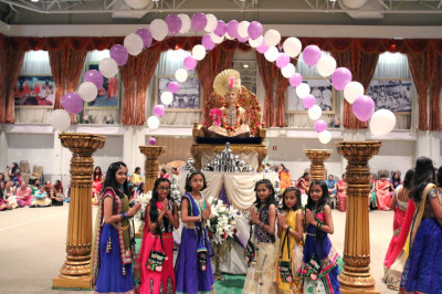 Young disciples who performed a dance at the Sharad Purnima celebrations