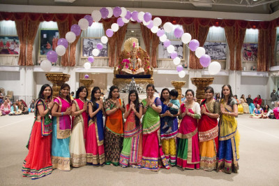 Disciples who performed a dance at the Sharad Purnima celebrations