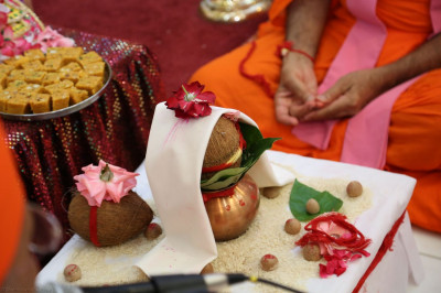 Sants recite sloks and guide disciples through the Maha-Yagna