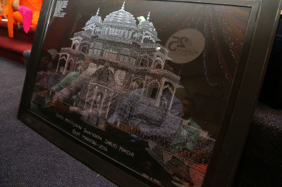 A young disciple created an intricate etching of the Smruti Mandir to gift to Acharya Swamishree