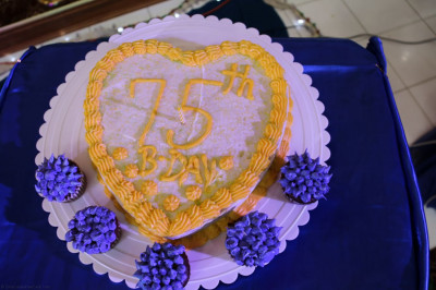A cake commemorating the 75th manifestation day of Acharya Swamishree