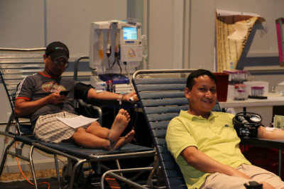 Many members from the community partake in the selfless act of donating blood to help those in need