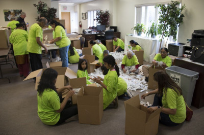 Young volunteers also helped with packaging the already sorted and examined medical supplies