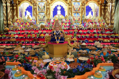Hundreds of food items are offered to Lord Shree Swaminarayanbapa Swamibapa as part of the annakut