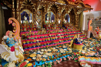 Hundreds of food items, including foods from different cultures, are offered to Lord Shree Swaminarayanbapa Swamibapa as part of the annakut
