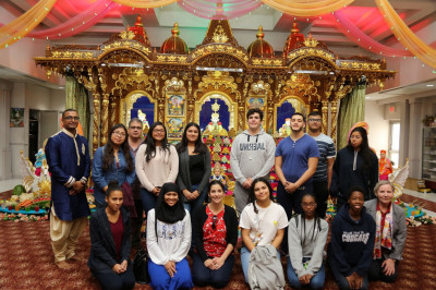 Students from St. Peter�s University studying Southeast Asian Culture visit the temple to observe first-hand the celebration of Diwali