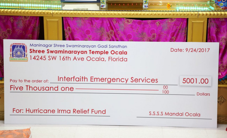 Shree Swaminarayan Temple, Ocala donates to hurricane relief fund