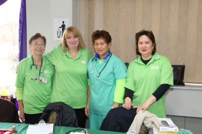 Volunteers from Meadowlands Hospital Medical Center provide glucose, blood pressure, and cholesterol screenings to all patients