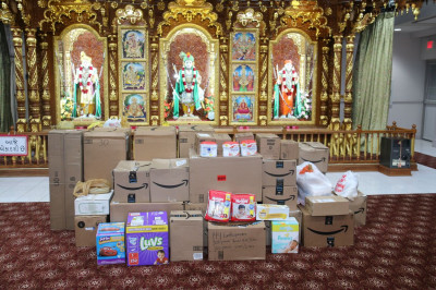 Hundreds of pounds of hurricane relief supplies gathered at Shree Swaminarayan Temple � Secaucus, New Jersey