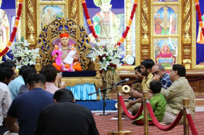 In celebration of Guru Purnima at Shree Swaminarayan Mandir New Jersey, disciples perform utsav