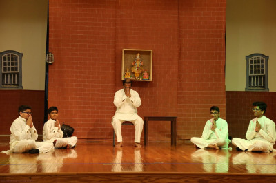 Disciples perform a religious drama for the Sadbhav Amrut Parva celebrations