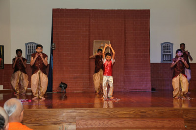 Disciples perform a dance for the Sadbhav Amrut Parva celebrations