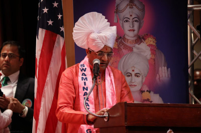 One of the grand sponsors shares a few words in praise of Acharya Swamishree for everything He has done for the disciples of North America