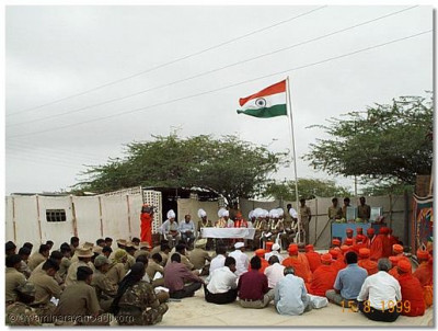 A scene from the auspicious sabha held at the barracks where His Divine Holiness blessed all the brave soldiers