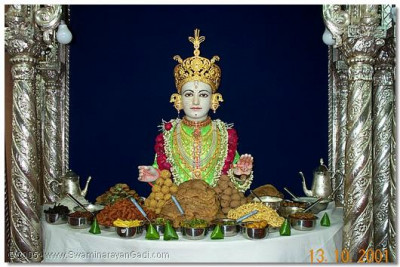 Lord Swaminarayan and the Thaal lovingly prepared by the sants