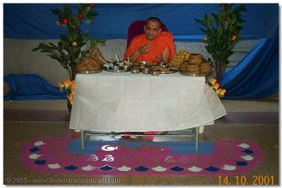 The rangoli and decoration around HDH Acharya Swamishree