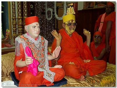HDH Acharya Swamishree showing the gold flowers