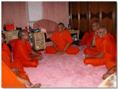 HDH Acharya Swamishree gives darshan to the sants and devotees