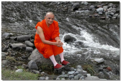 Acharya Swamishree giving His divine darshan seated along the bank of a river